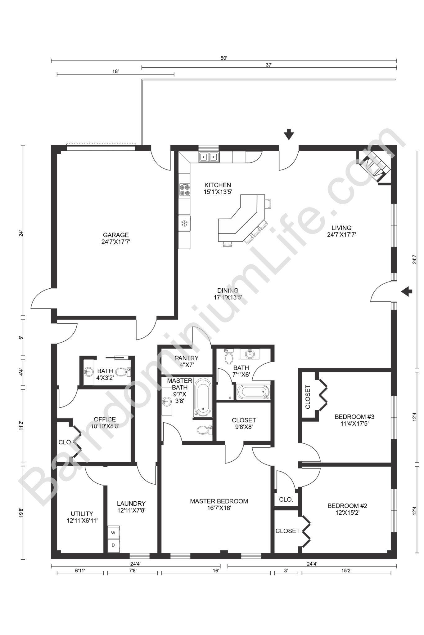 8 Inspiring Barndominium Floor Plans With Garage In 2020 Barndominium Floor Plans Floor Plans Barn Homes Floor Plans