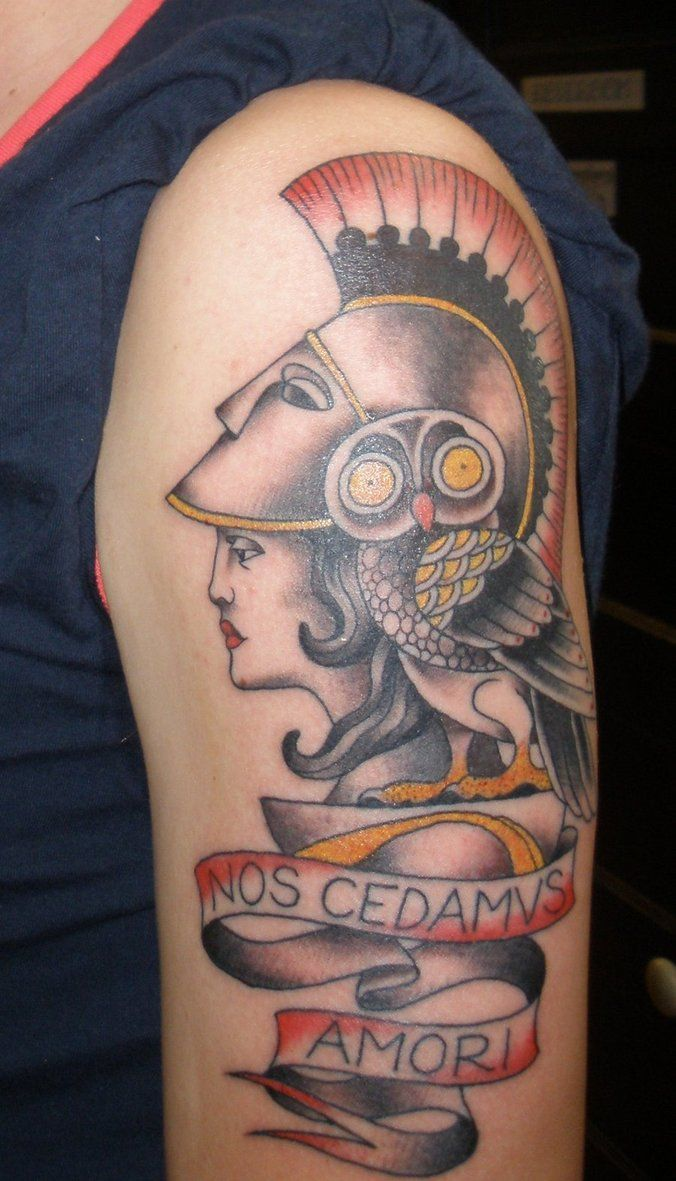 Athena tattoo in classic form tattoos pinterest for Athena owl tattoo