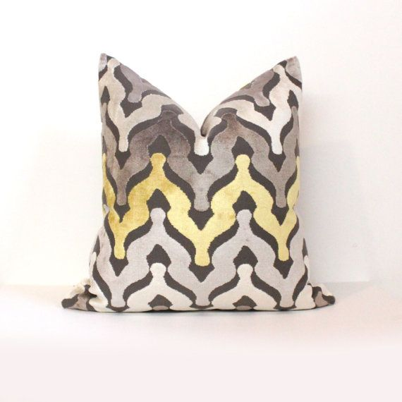 "20"" NEW! Gray and Yellow Ombre Cut Velvet Designer Pillow ($35)"