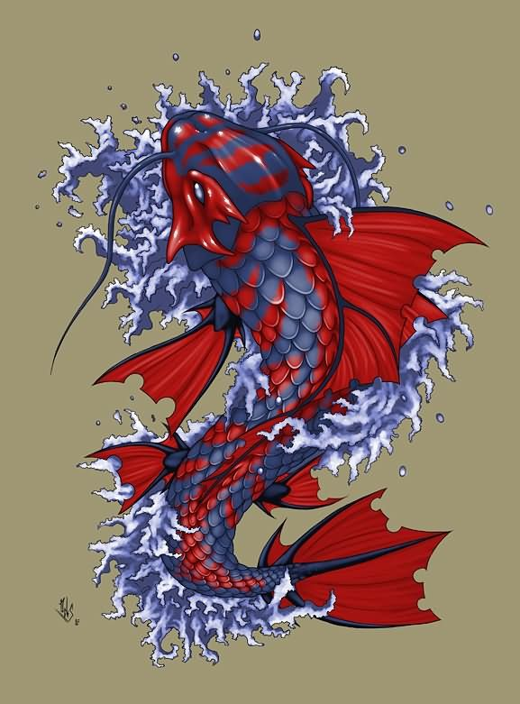 Red Blue Koi Fish Tattoo Design By Deks Designs Japanese Koi Fish Tattoo Koi Dragon Tattoo Koi Dragon