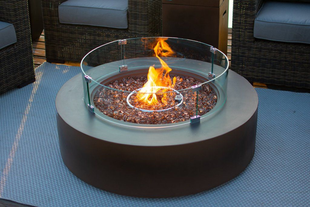 42 round outdoor propane gas fire pit table in brown