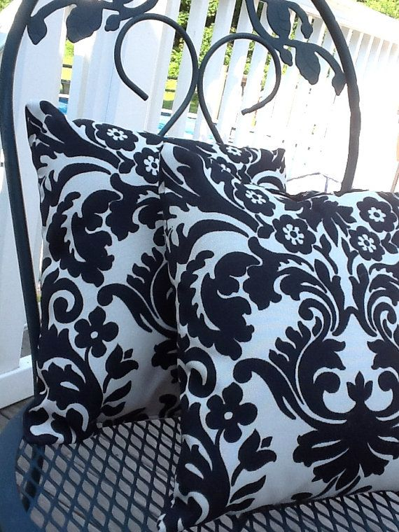 Black And Cream Outdoor Pillows By Mustlovehomedecor On Etsy 22 00