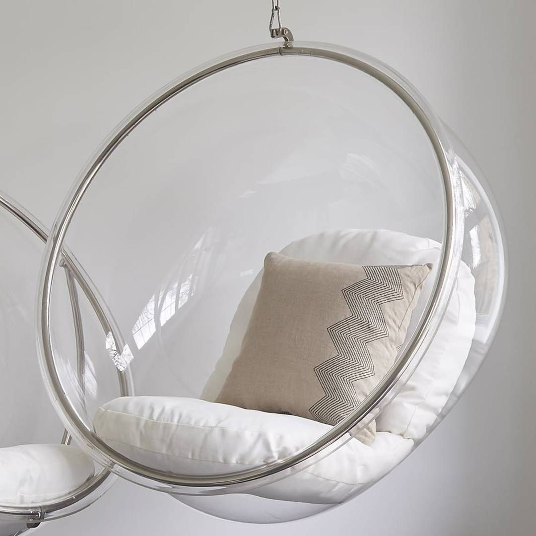Wallace Sacks Ivory/Clear Hanging Bubble Inspired Chair and Chain