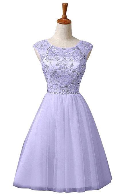 Semi Formal Dress 2015 A Line O Nekck Cap Sleeve Beaded Rhinestone