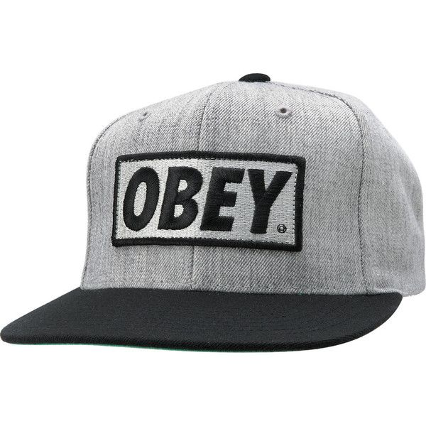 0f181795a91 Obey Original Heather Grey Snapback Hat ( 28) ❤ liked on Polyvore featuring  accessories