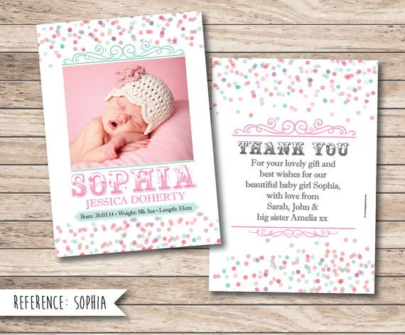 Birth Announcement Personalised Baby Thank You by SugarPrintFairy – Personalised Birth Announcements