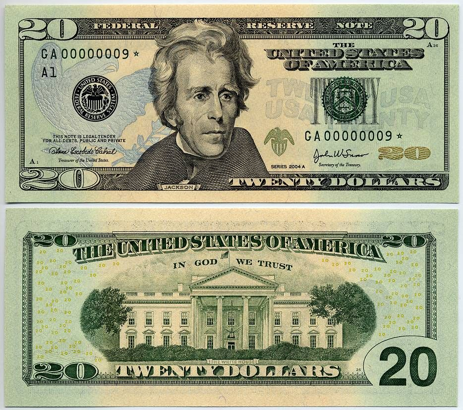 Us Currency 2004a 20 Federal Reserve Star Note S N Ga 00000009