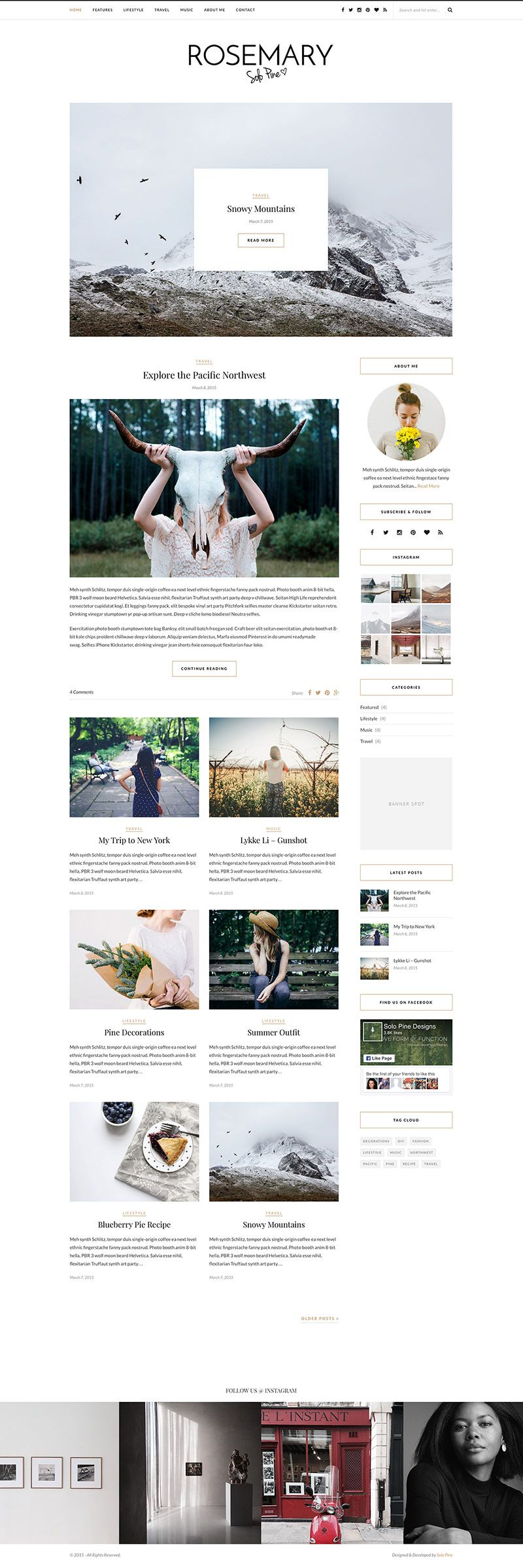Rosemary Is One Of My Favorite Blog Wordpress Themes And I M Sure Going To Use It Someday I Blog Design Inspiration Blog Themes Wordpress Blog Layout Design