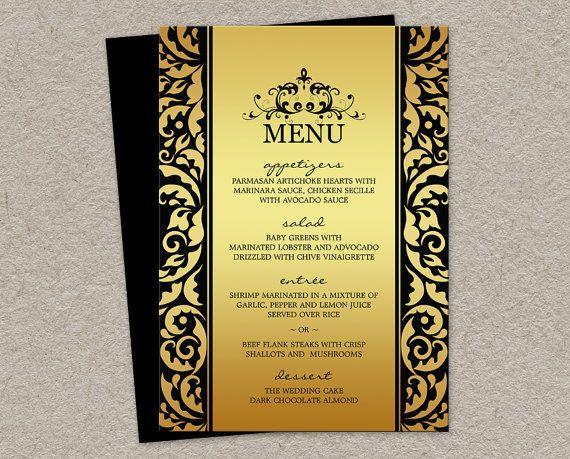 elegant wedding or christmas dinner party menu cards in gold and black diy printable flourish