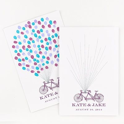 Show off your love of biking with this unique guest book alternative - Guests leave their fingerprint to create a balloon and sign next to their print! #Bicycle #Wedding #GuestBook http://www.invitationsbydavidsbridal.com/Wedding-Day-Essentials/Guest-Books--Alternatives/2947-DB9855AA0Z-Tandem-Bicycle-Guest-Mat--Guest-Book-Alternative.pro?&sSource=Pinterest&kw=Whimsical_DB9855AA0Z