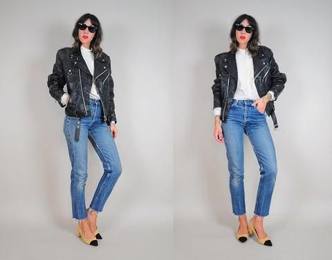 80's Patched Leather Motorcycle Jacket