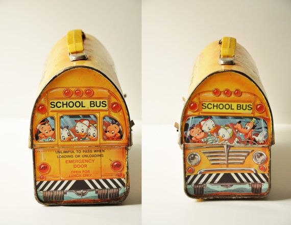 This adorable dome-style Disney School Bus metal lunch box made in USA by Aladdin Industries was the top-selling lunch kit of all time.  Cleverly