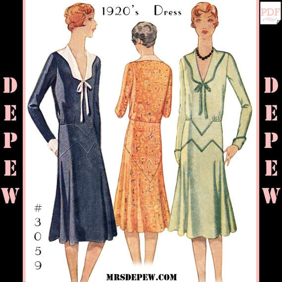 Vintage Sewing Pattern Reproduction Ladies 1920s Dress 3059
