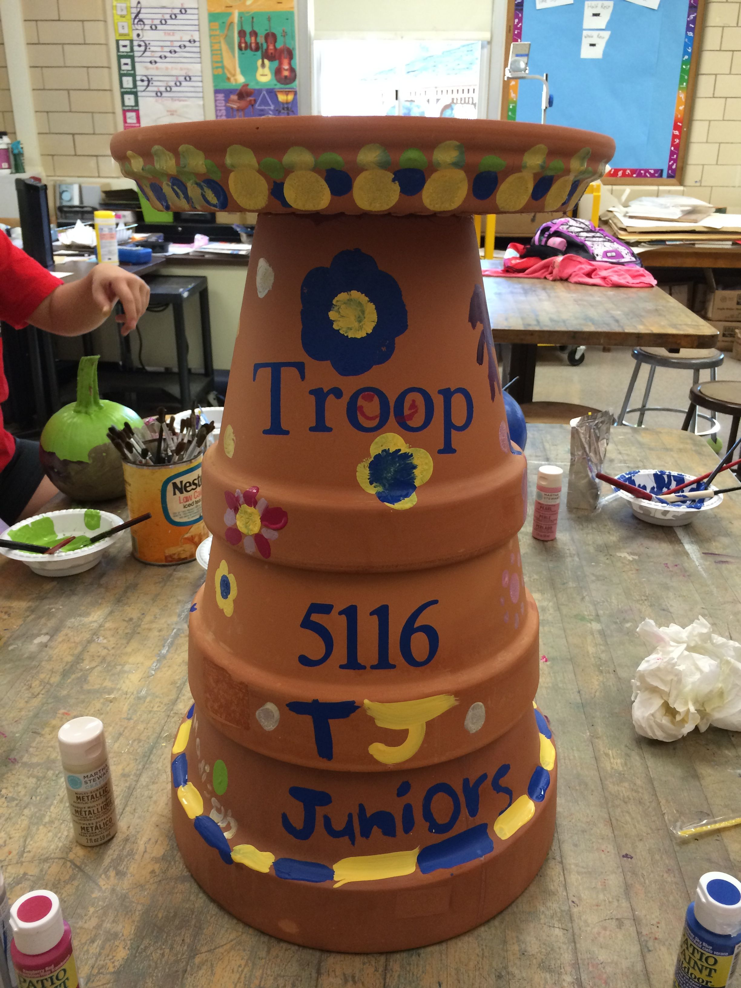 So Proud Of Our Girl Scout Troop Birdbath For The School Garden Made As Part Of The Animal