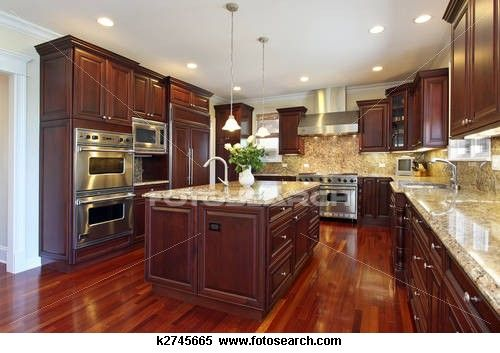 Kitchen With Cherry Wood Cabinetry Stock Photography K2745665 Kitchen Remodel Small New Kitchen Designs Kitchen Remodel