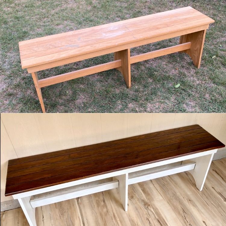 Simple and classic with this bench!  Featuring an Espresso stained top, Annie Sloan Old white chalk paint, lite antiquing, and no distressing. #anniesloanchalkpaint #chalkpaintedfurniture #paintedfurniture #diyfurnituremakeover #diyfurnitureprojects #oldwhite #furnituremakeover #bench #livetheaustinlife