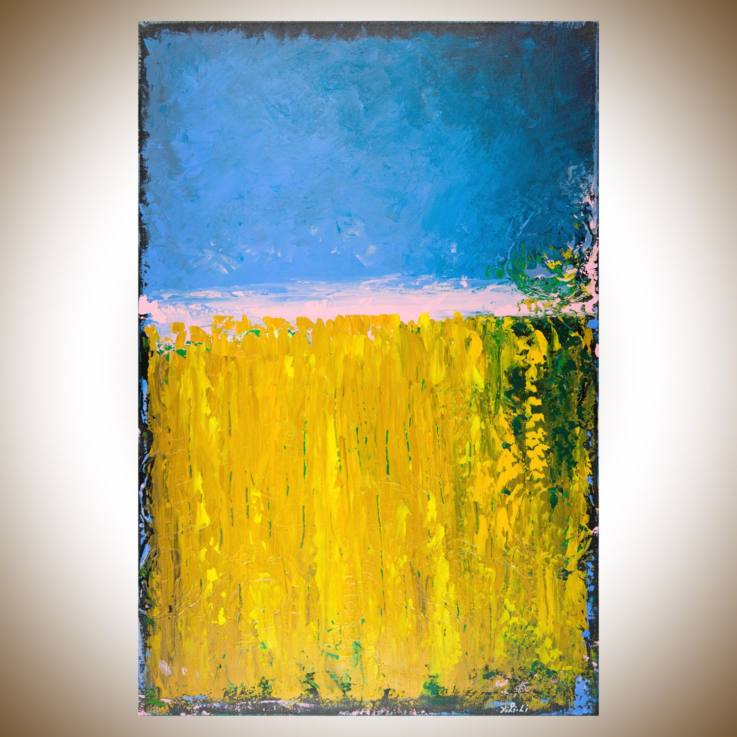 Modern abstract painting Green yellow blue Original artwork oil ...