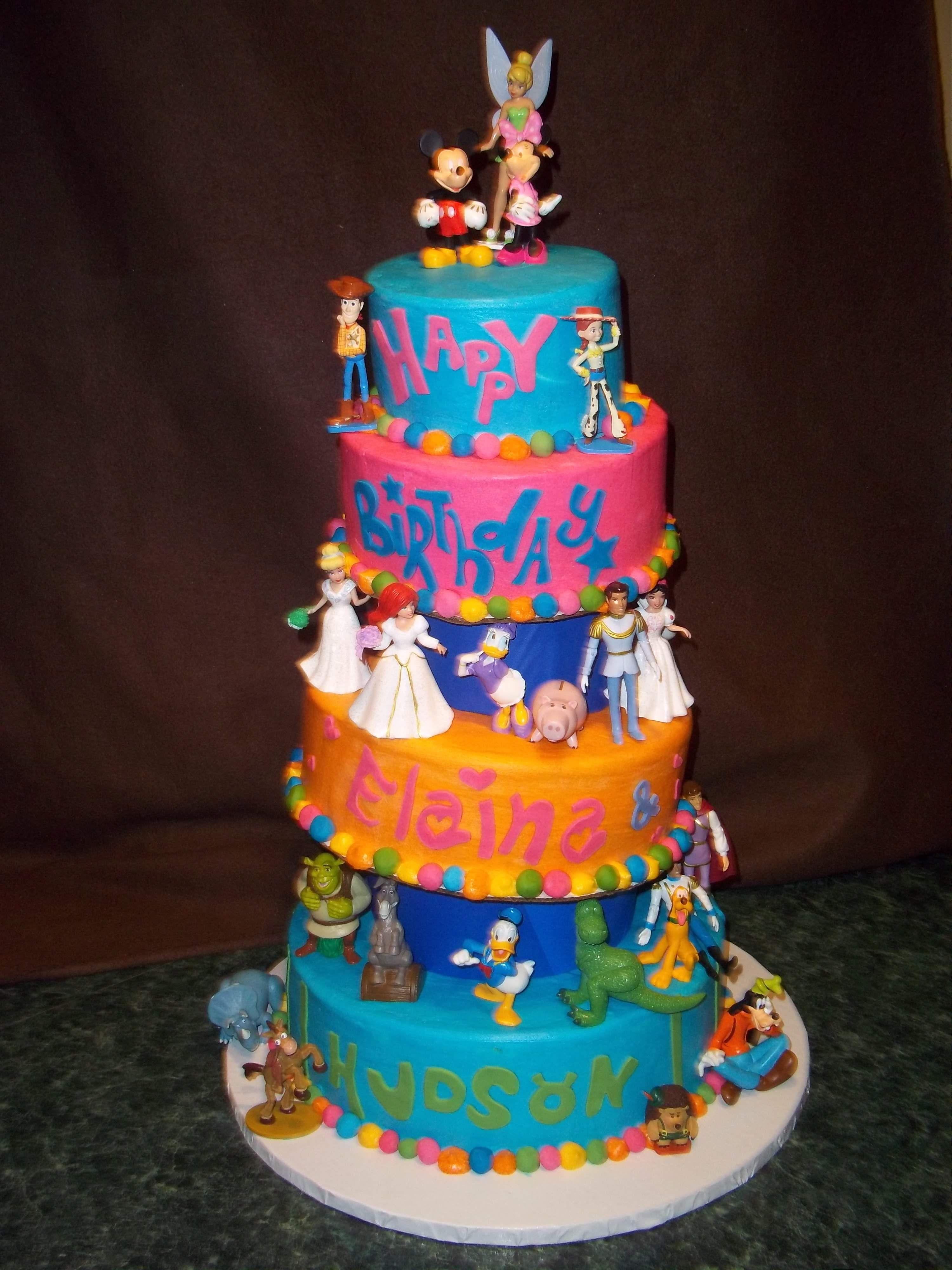 Strange Mixed Disney Characters Cake With Images Disney Birthday Cakes Funny Birthday Cards Online Inifodamsfinfo