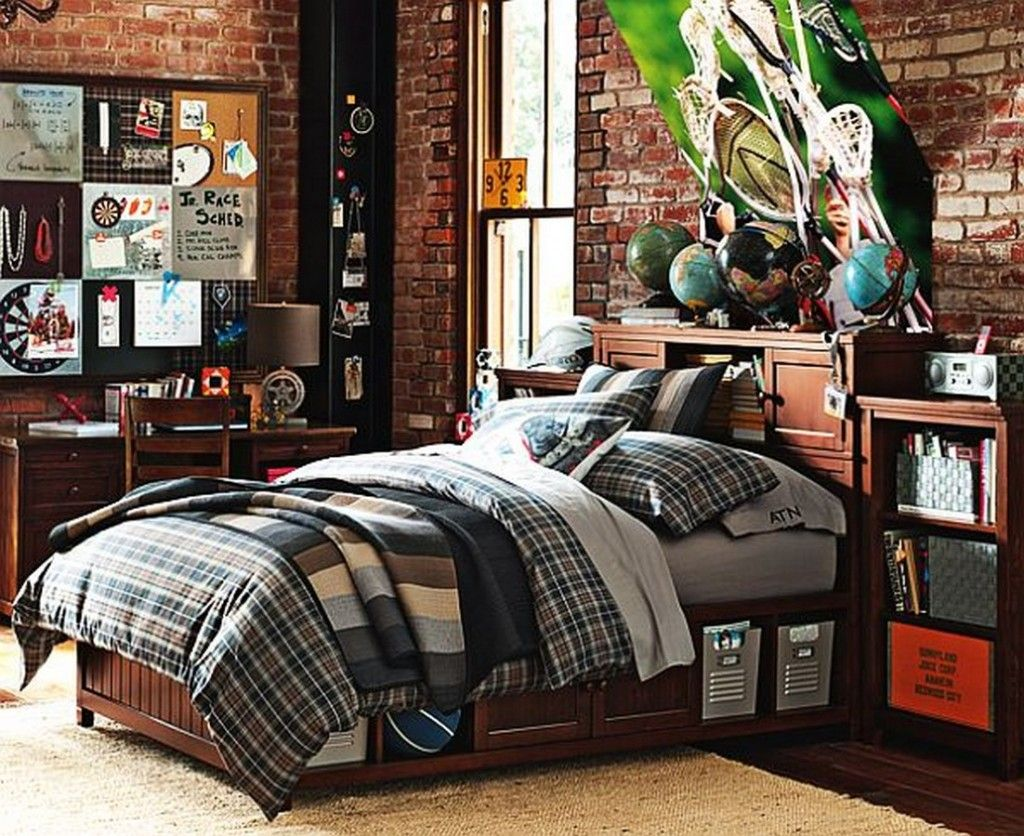 teen room sport themed teenage boys bedroom with dark plaid beadboard bed and traditional wooden study table also exposed brick wall design ideas 29 - Brick Kids Room Decor