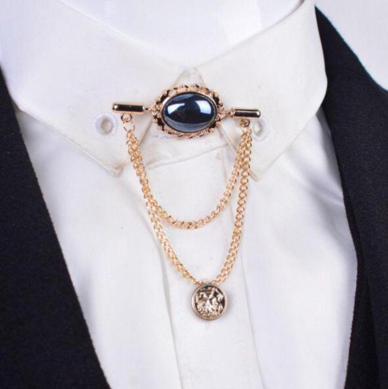 141627c6275 Yüksek kalite Moda Kristal mücevher erkekler püskül zincir gömlek ile  püsküller Erkekler Suit Yaka broş Pin aksesuarları şal yaka(China  (Mainland))