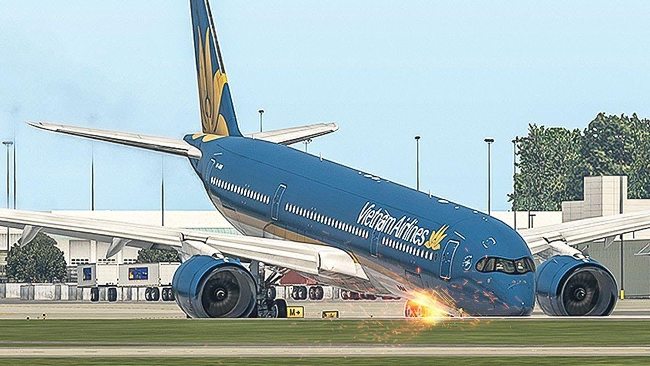 Airbus A350 Crash Landing Without Nose Landing Gear | Emergency