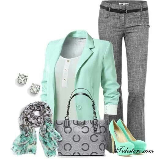 Mint Green Gray Outfit Fashion Clothes Work Fashion