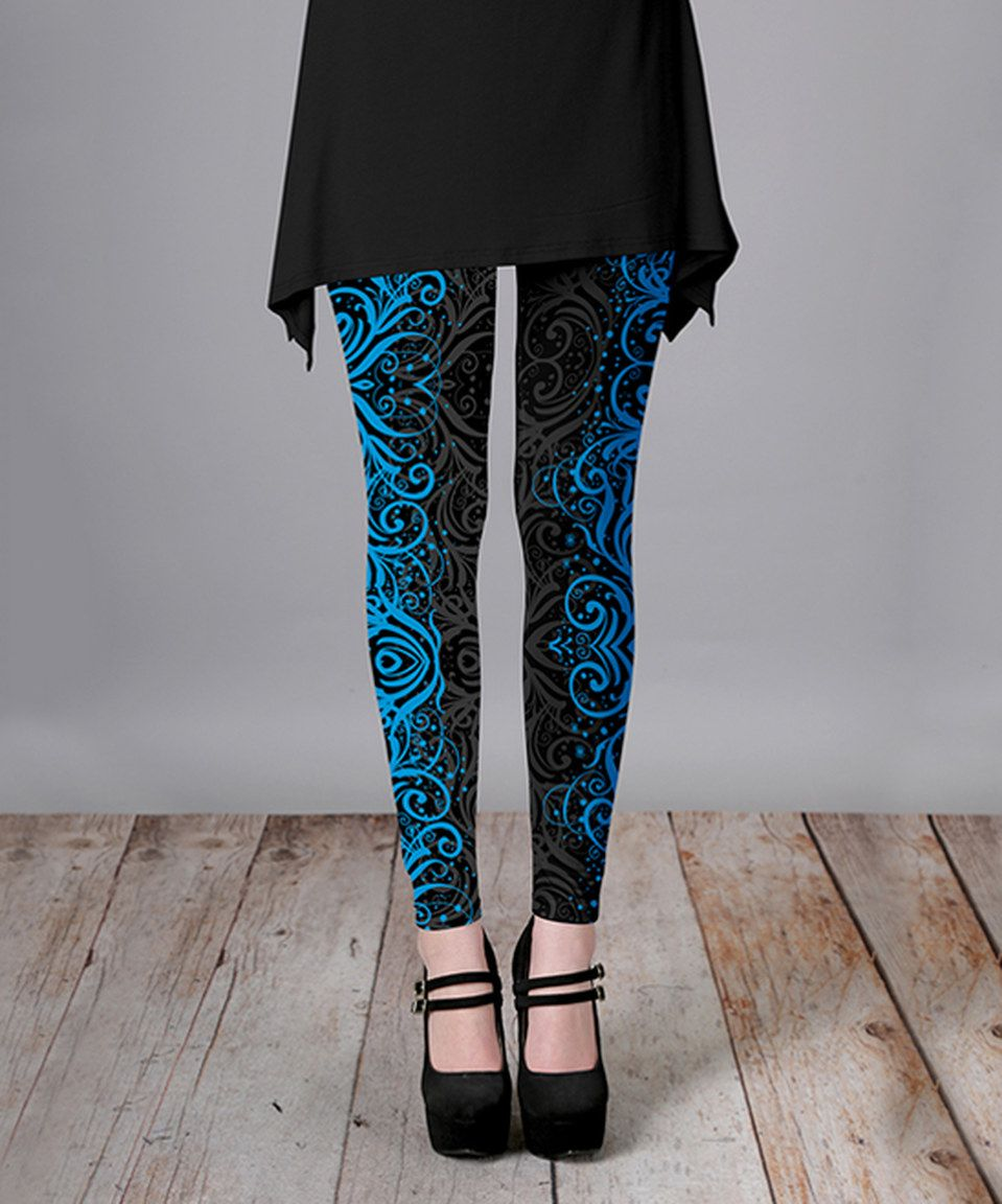 f6094d0f8e2b6 Look what I found on #zulily! Black & Blue Ornate Leggings - Plus Too by  Lily #zulilyfinds
