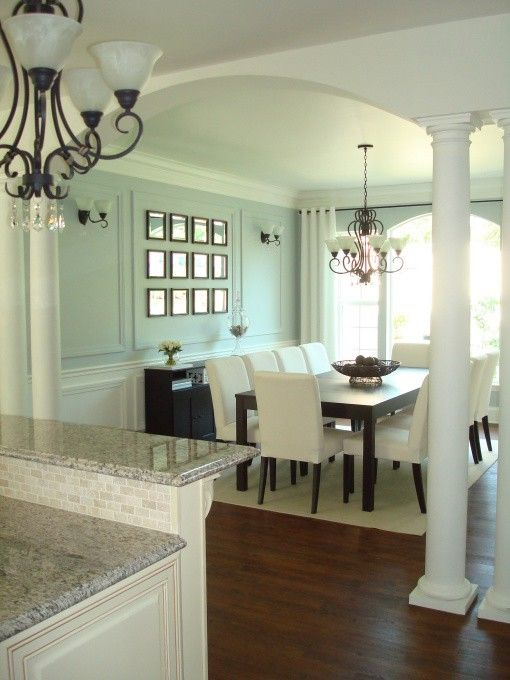 Seafoam walls dark wood and white gold or silver accents