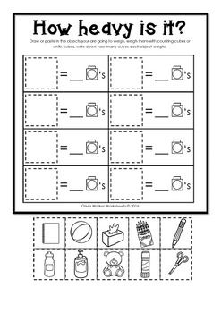Weight Worksheets Non Standard Measurement Kindergarten Grade One Students Kindergarten Worksheets Measurement Kindergarten Tens And Ones Worksheets