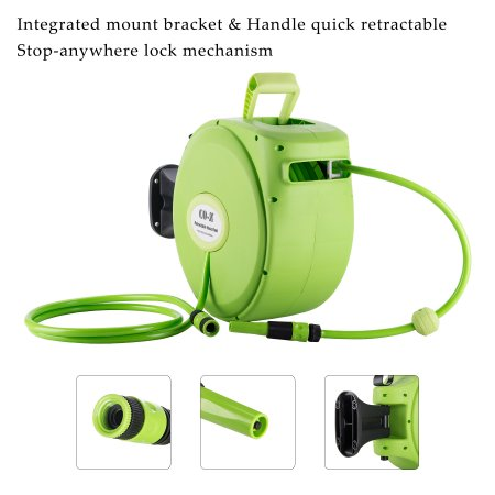 Retractable Auto Rewind Air Hose Reel 65 Feet By 1 2 Inch For Garden Watering 300psi Lightweight Walmart Com Air Hose Reel Hose Reel Air Hose
