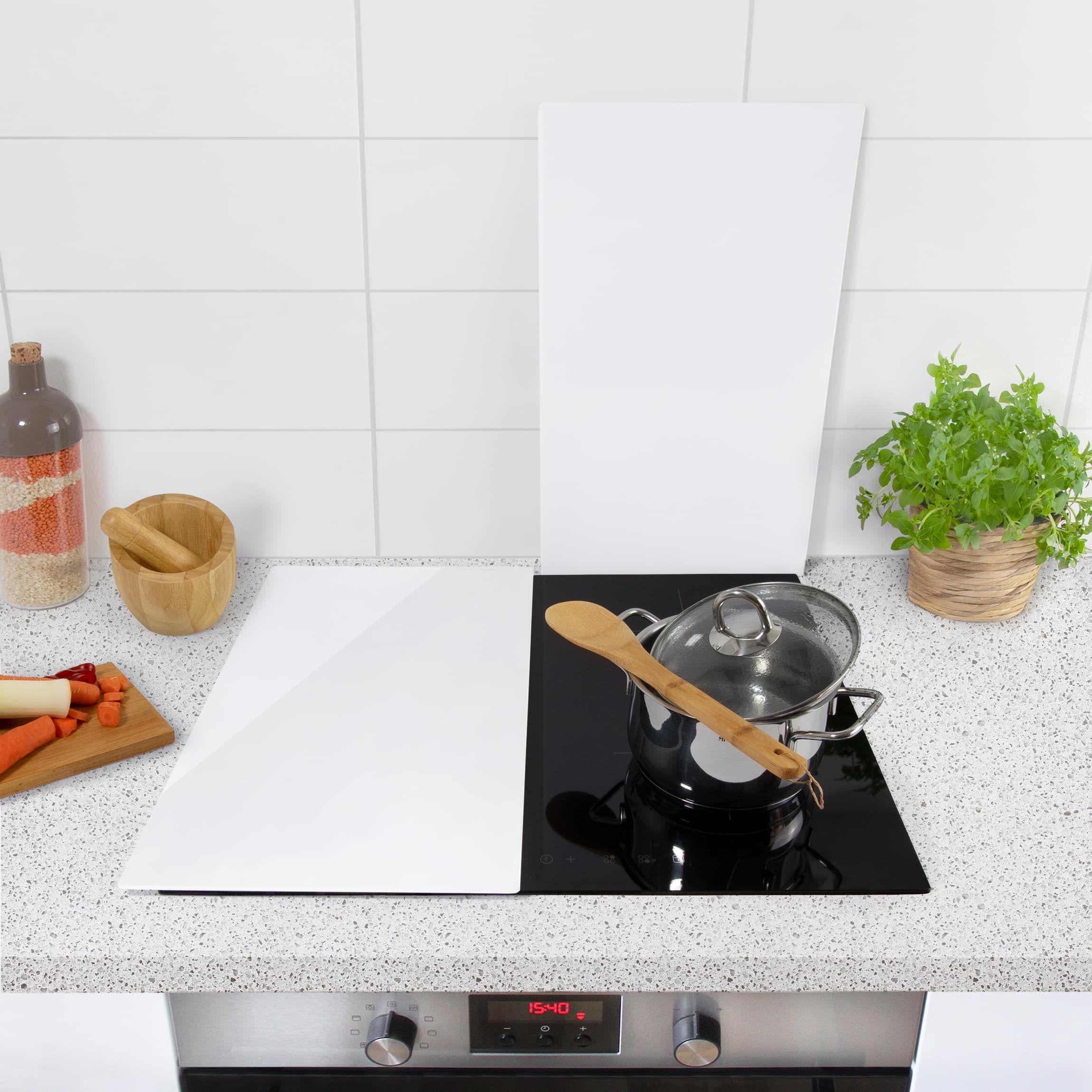 Tagliere Per Piano Cucina coprifornelli in vetro - bianco polare - 52x60cm