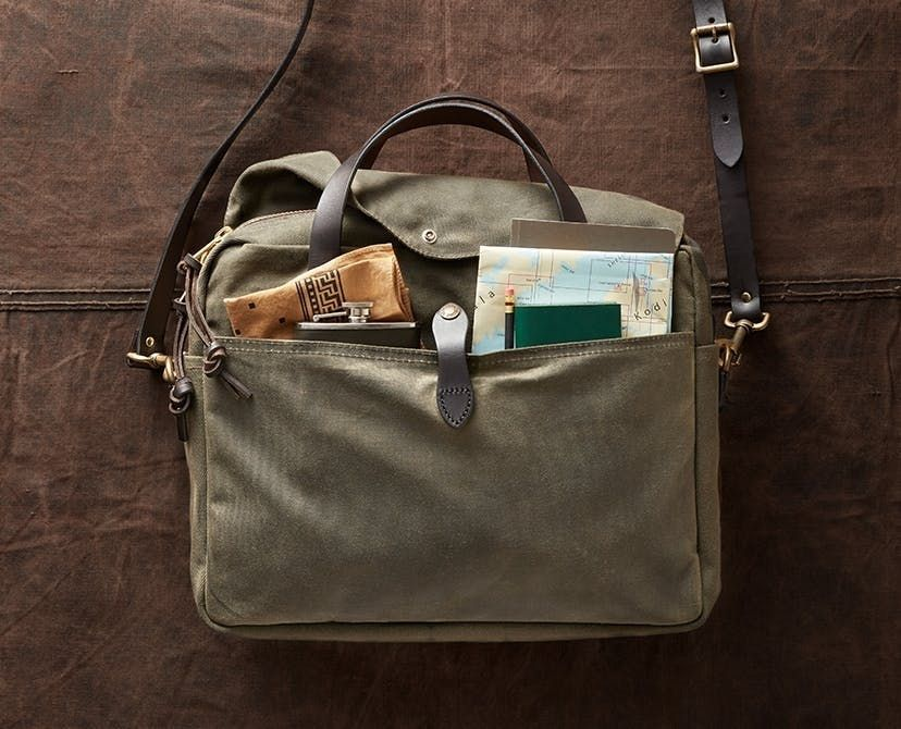 The 24 Hour Briefcase Is Designed For All Weather Conditions With Water Repellent Tin Cloth And Is Fully Lin Filson Bags Filson Briefcase Filson Bag Briefcases