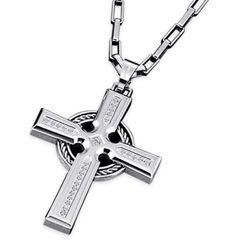 "Triton Men's 1/6 CT. T.W. Diamond Cross Pendant in Stainless Steel and Sterling Silver - 22"" - View All Jewelry - Gordon's Jewelers"
