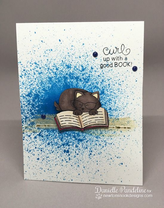Cat Reading card by Danielle Pandeline | Newton's Book Club Stamp set by Newton's Nook Designs #newtonsnook
