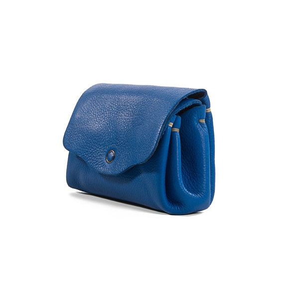 Women blue Leather Purse women leather wallet Blue by KisimBags