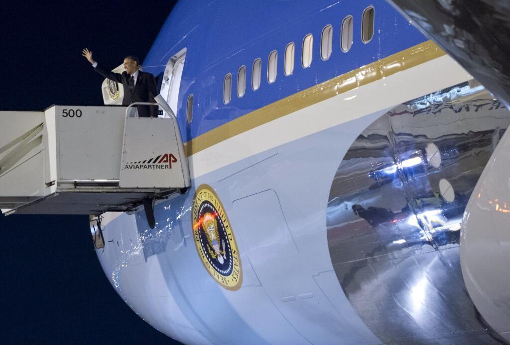 Obama is vertrokken uit Nederland. Zijn Air Force One is 'wheels up' naar Brussel.  #NSS2014 March