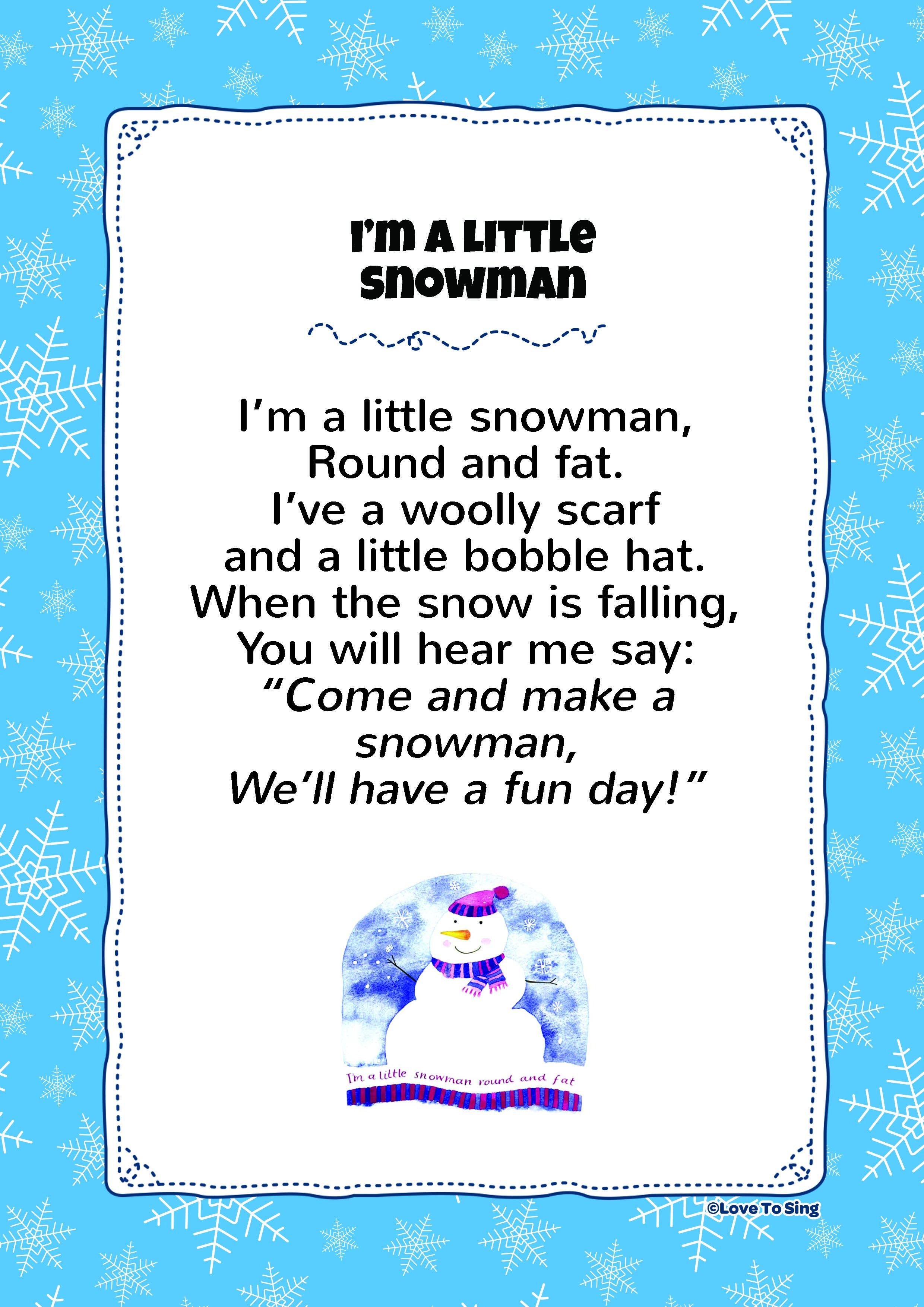 I'm A Little Snowman Kids video songs, Free lyrics