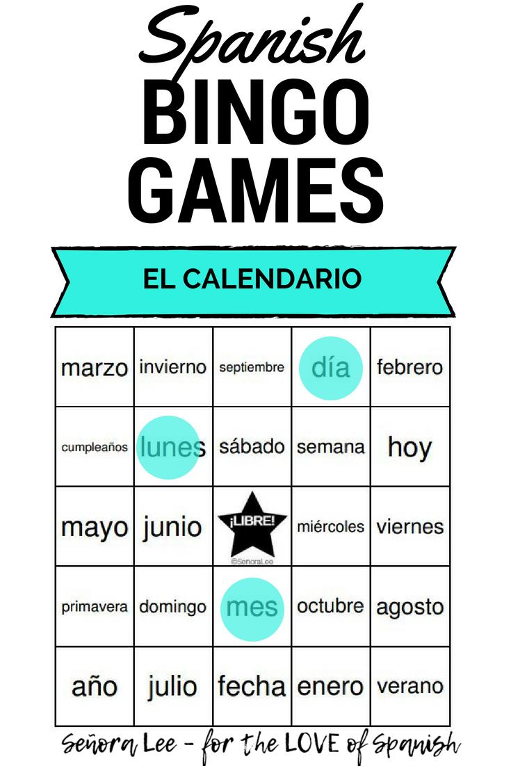 Calendar Days Of The Week In Spanish.Spanish Calendar Bingo El Calendario Spanish Class Activities