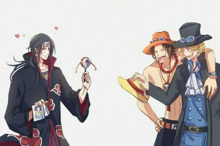 Itachi, Ace, Sabo, brothers, One Piece, Naruto, crossover