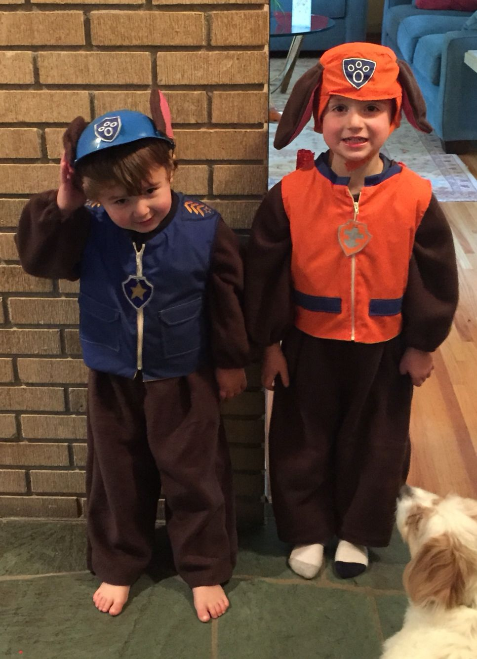 homemade paw patrol zuma costume and chase costume