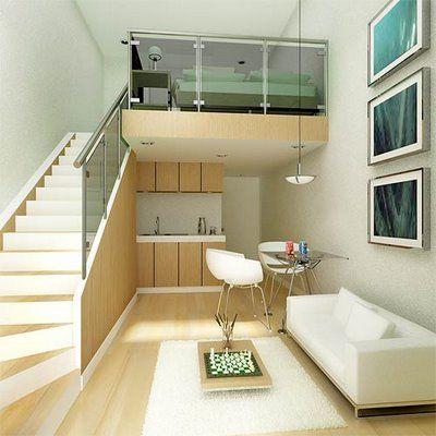 monoambiente con entre piso decoracion minimalista