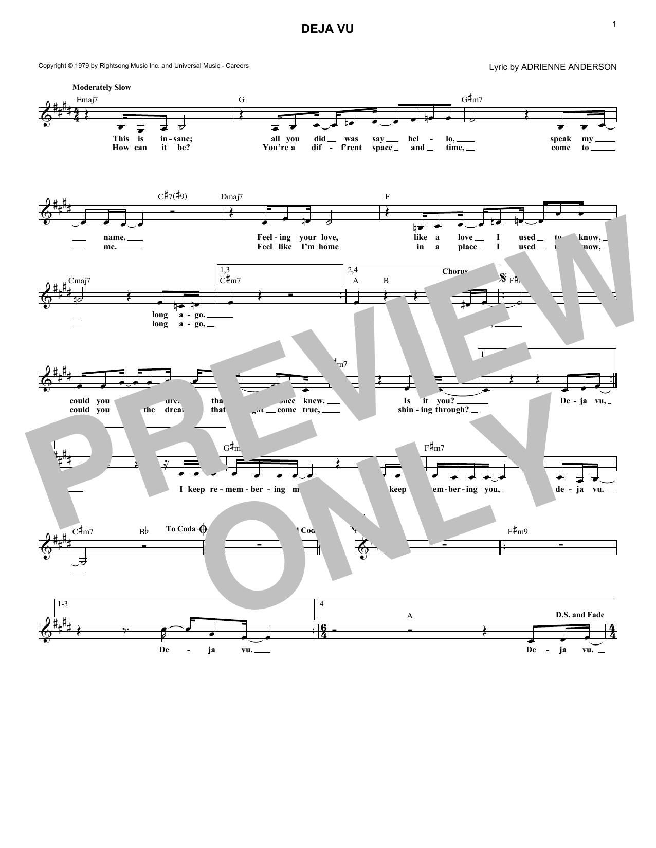 dionne warwick deja vu sheet music notes and chords for melody line lyrics chords