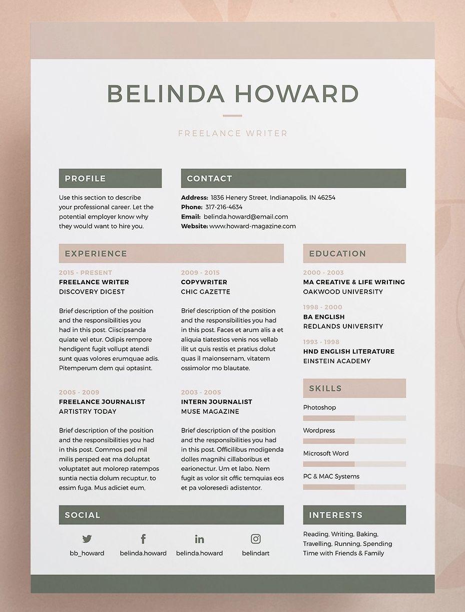 Resume Cv Belinda Resume Design Template Cv Template Resume Design