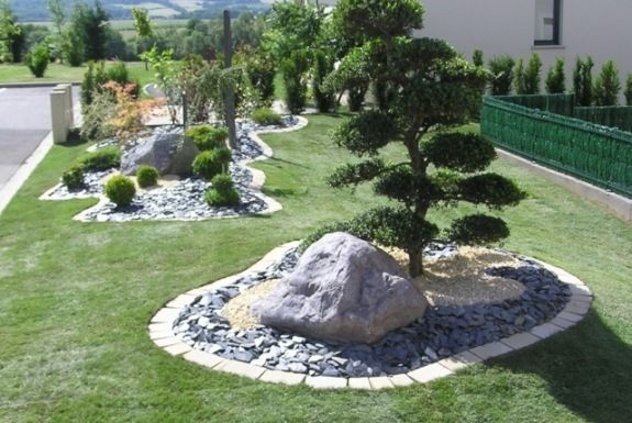 amenagement massif mineral gazon | edging | Jardins, Jardin ...