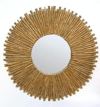 painted round bamboo mirror made of real bamboo staggered in a round formation