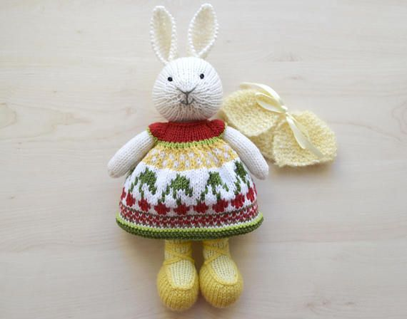 Knitting Easter Bunnies : Hand knit bunny girl soft toy knitted easter in dress my