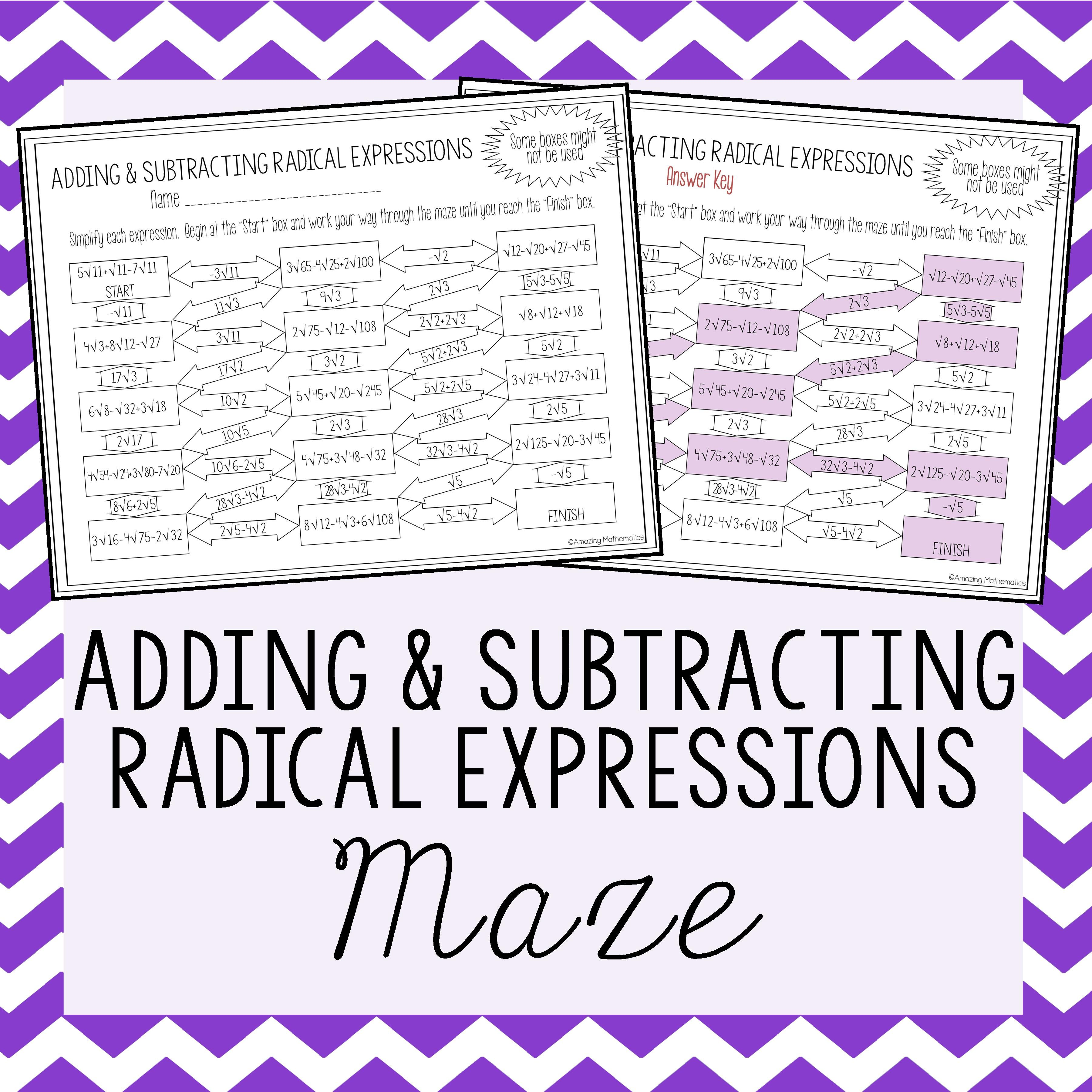 Operations With Radical Expressions Worksheet Adding Subtracting Maze Radical Expressions Simplifying Radical Expressions Math Expressions