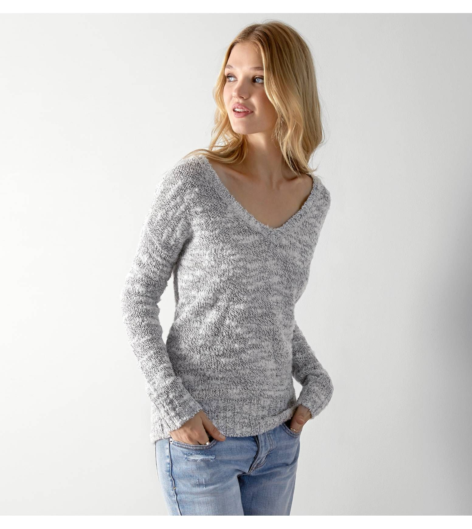 Light Grey AEO Textured V-Neck Sweater