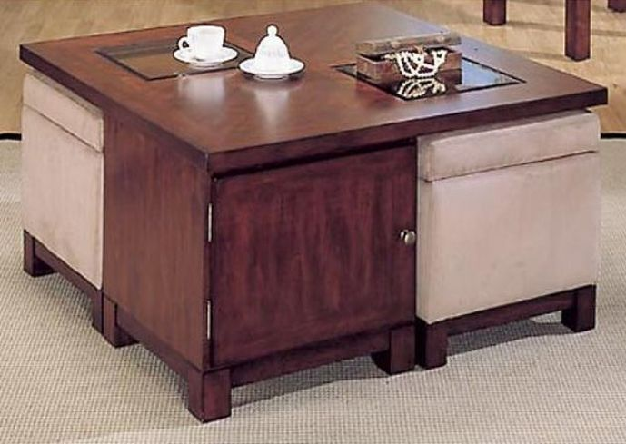pearson square coffee table with storage ottomans   Style ...
