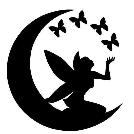 Photo of Süße Fee sitzt auf Halbmond und fliegende Schmetterlinge Tattoo … – Süße Fee …